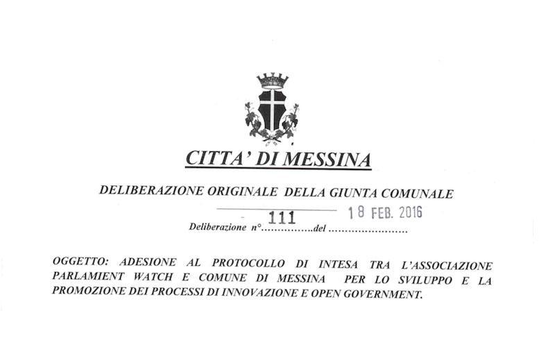 Messina, delibera di Giunta
